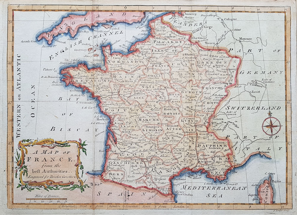 18th century map of France by John Lodge
