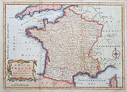 Antique 18th century map of France by Lodgese for sale