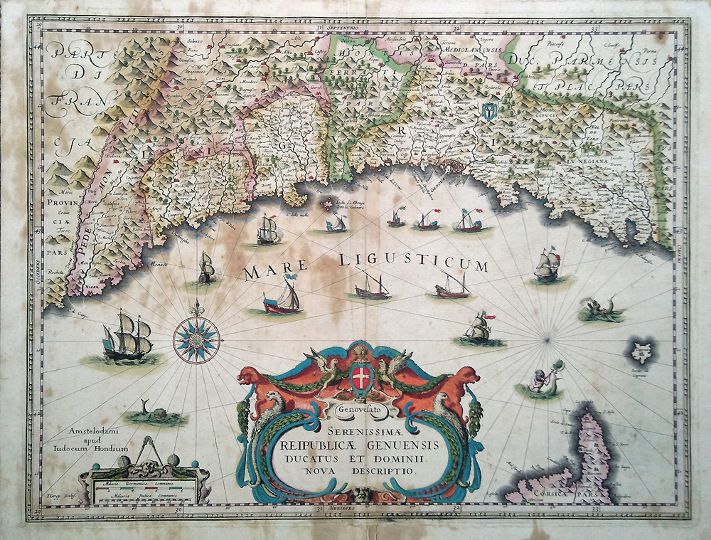 17th Century map of Genoa by Blaeu