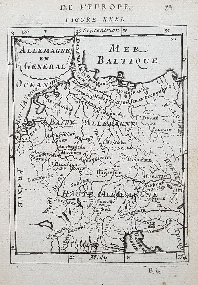 17th century map of Germany by Mallet
