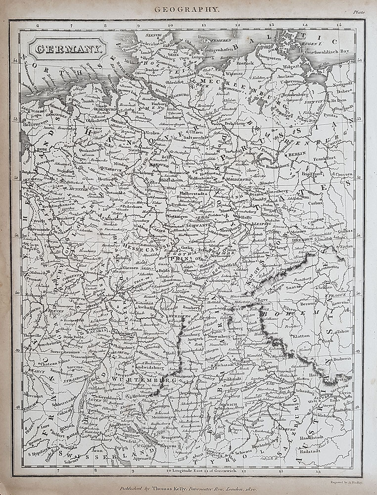 19th century map of Germany by Kelly