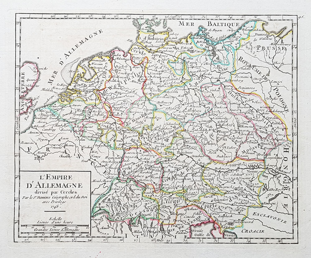 Antique map of German Empire 18th century for sale