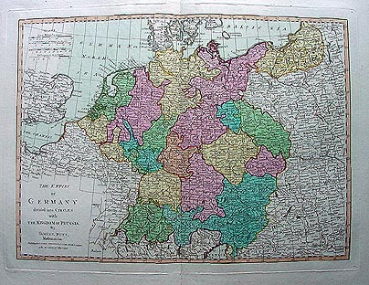 Antique map of Germany by Samuel Dunn