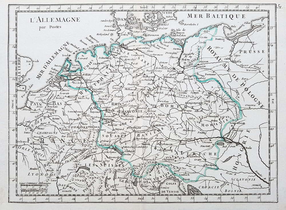 18th century map of German Empire