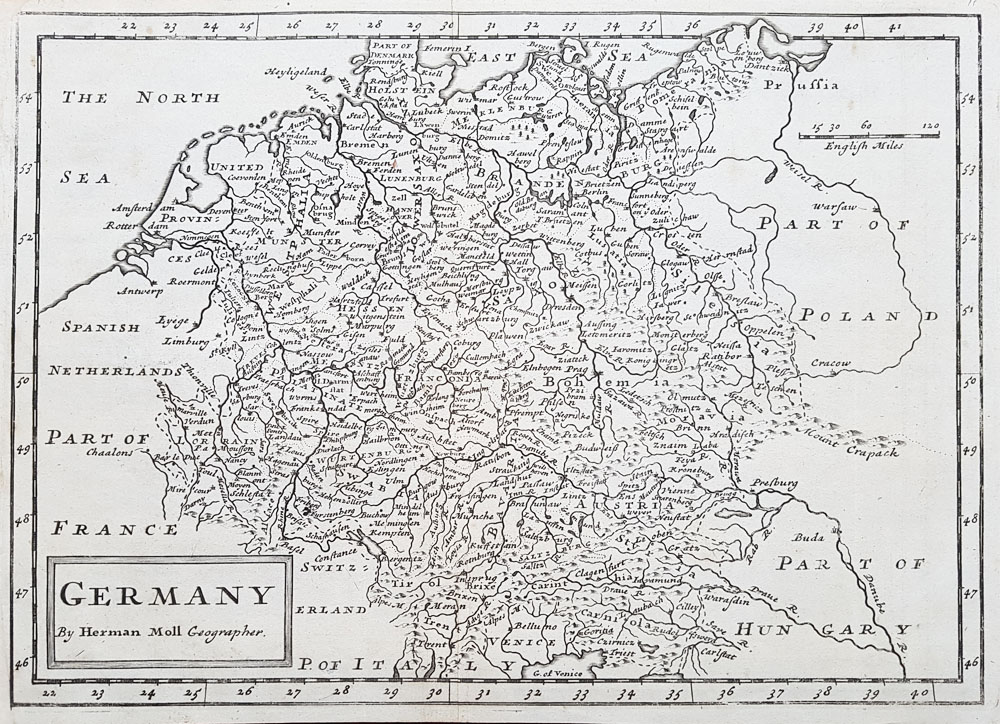 18th century map of Germany by Herman Moll