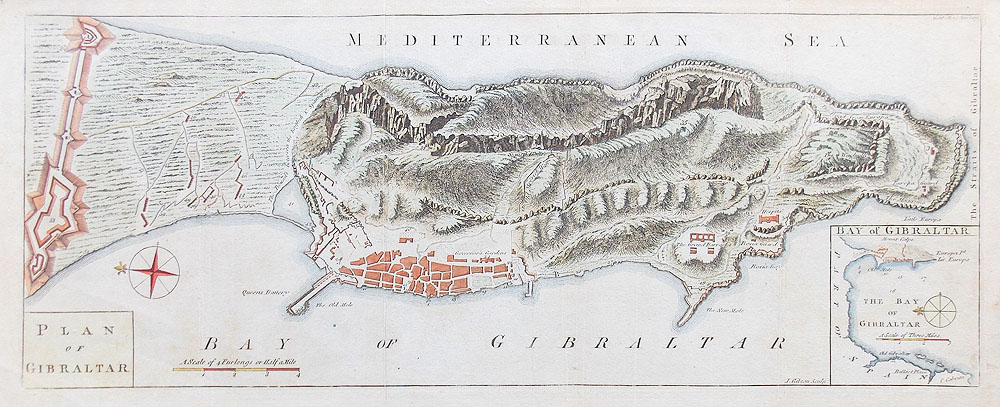 Gibraltar antique 18th century map by Gibson