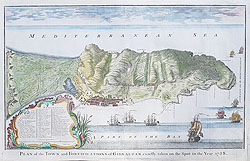 Gibraltar 18th century map by Basire for Rapin and Tindal