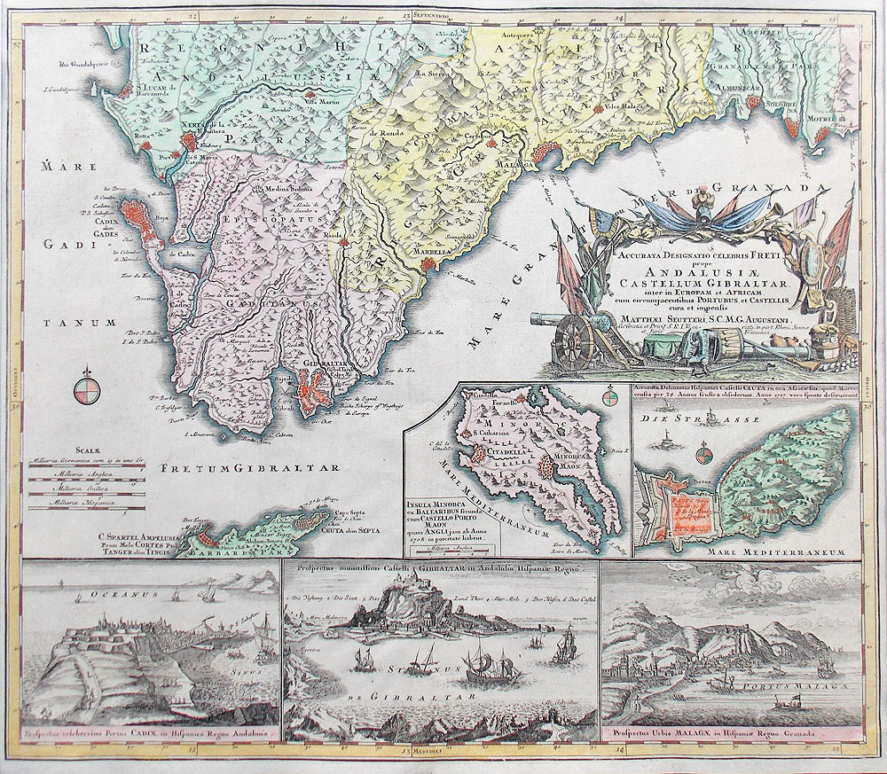 18th century map of Gibraltar