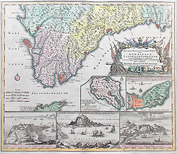 18th century map of Gibraltar for sale by Suetter