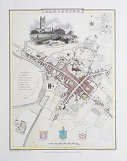 Gloucester 19th century city map by Cole and Roper for sale
