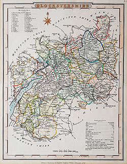 Gloucestershire Victorian map for sale