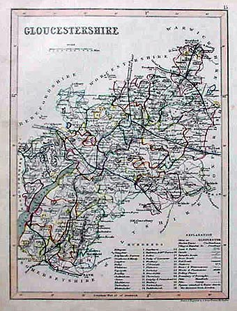 Gloucestershire Antique Map