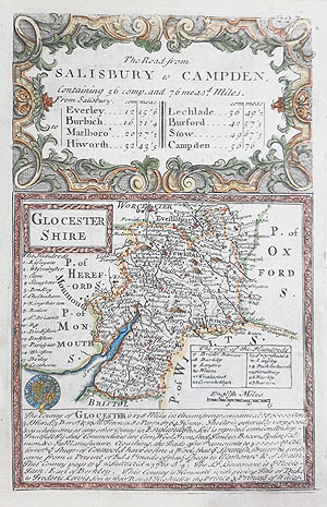 antique map of Gloucestershire by owen and bowen