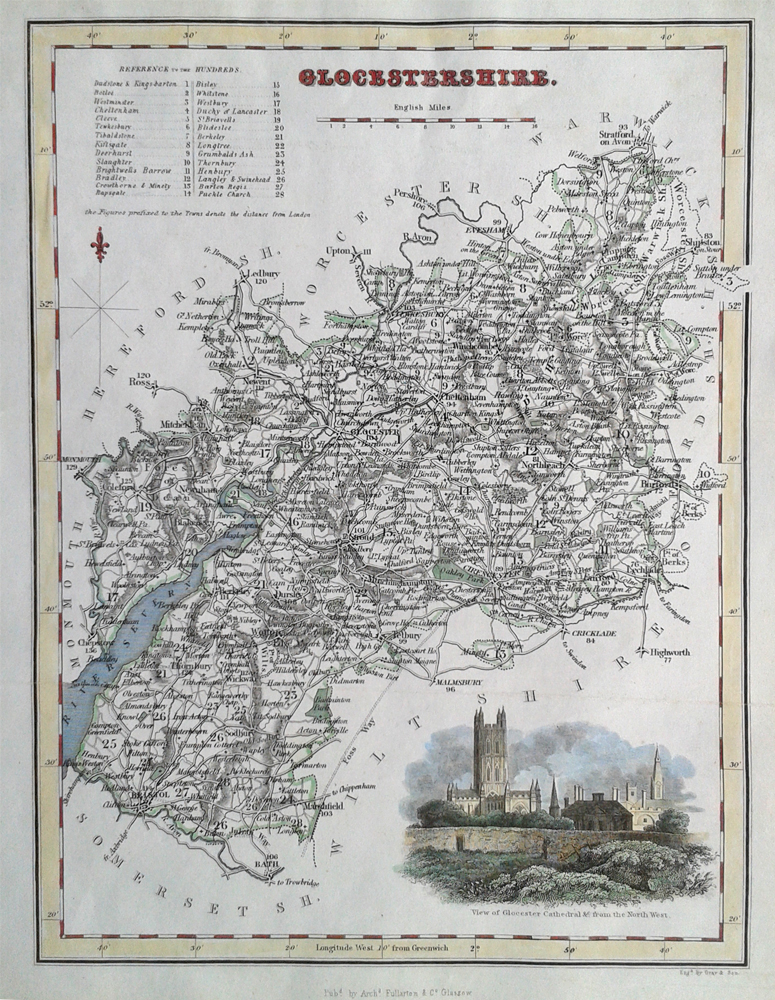 Gloucestershire by Archibald Fullarton 19th century county map