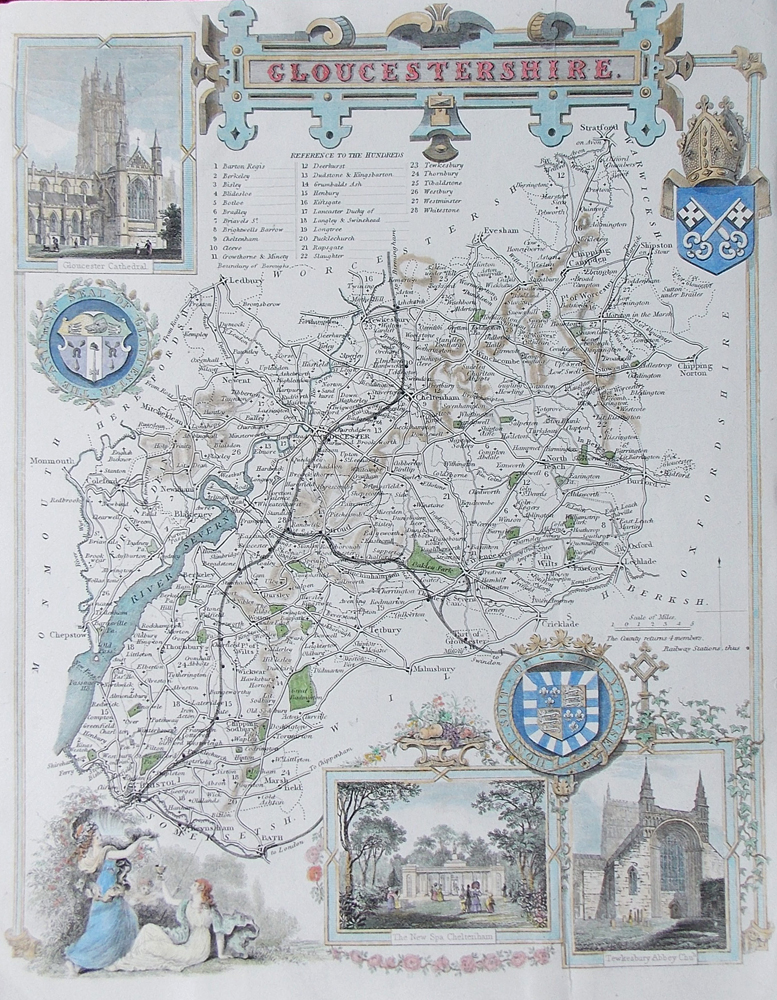 Gloucestershire Map by Thomas Moule