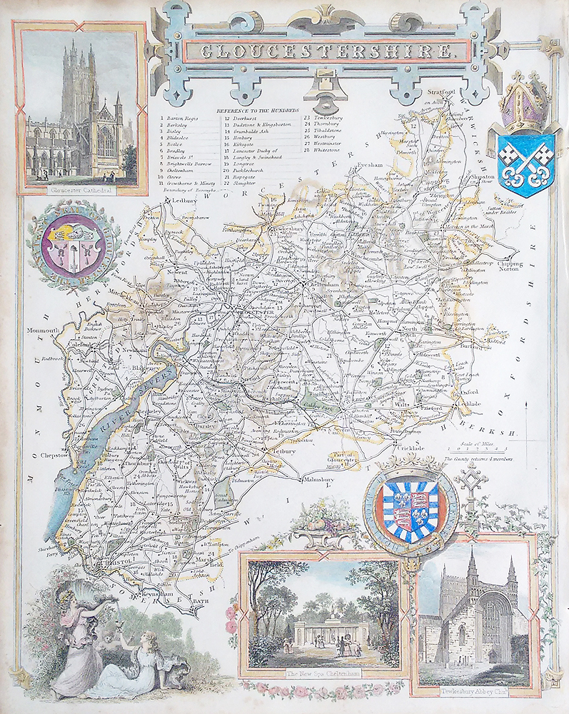 Antique map of Gloucestershire by Thomas Moule for sale