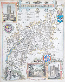 Thomas Moule map of Gloucestershire for sale