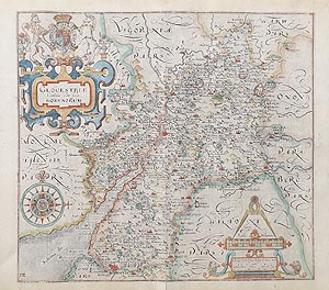Antique Map Gloucestershire Saxton Hole for sale