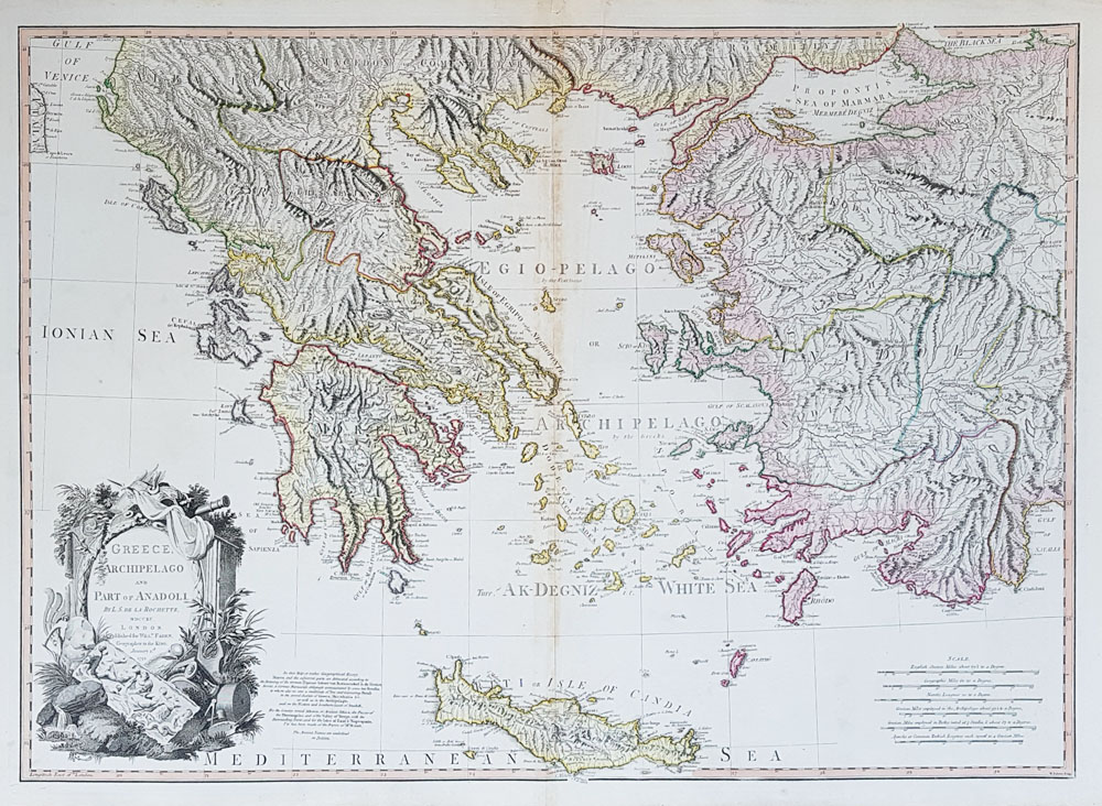 18th century map of Greece and Turkey by William Faden for sale