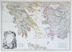 18th century decorative map of Greece by Faden
