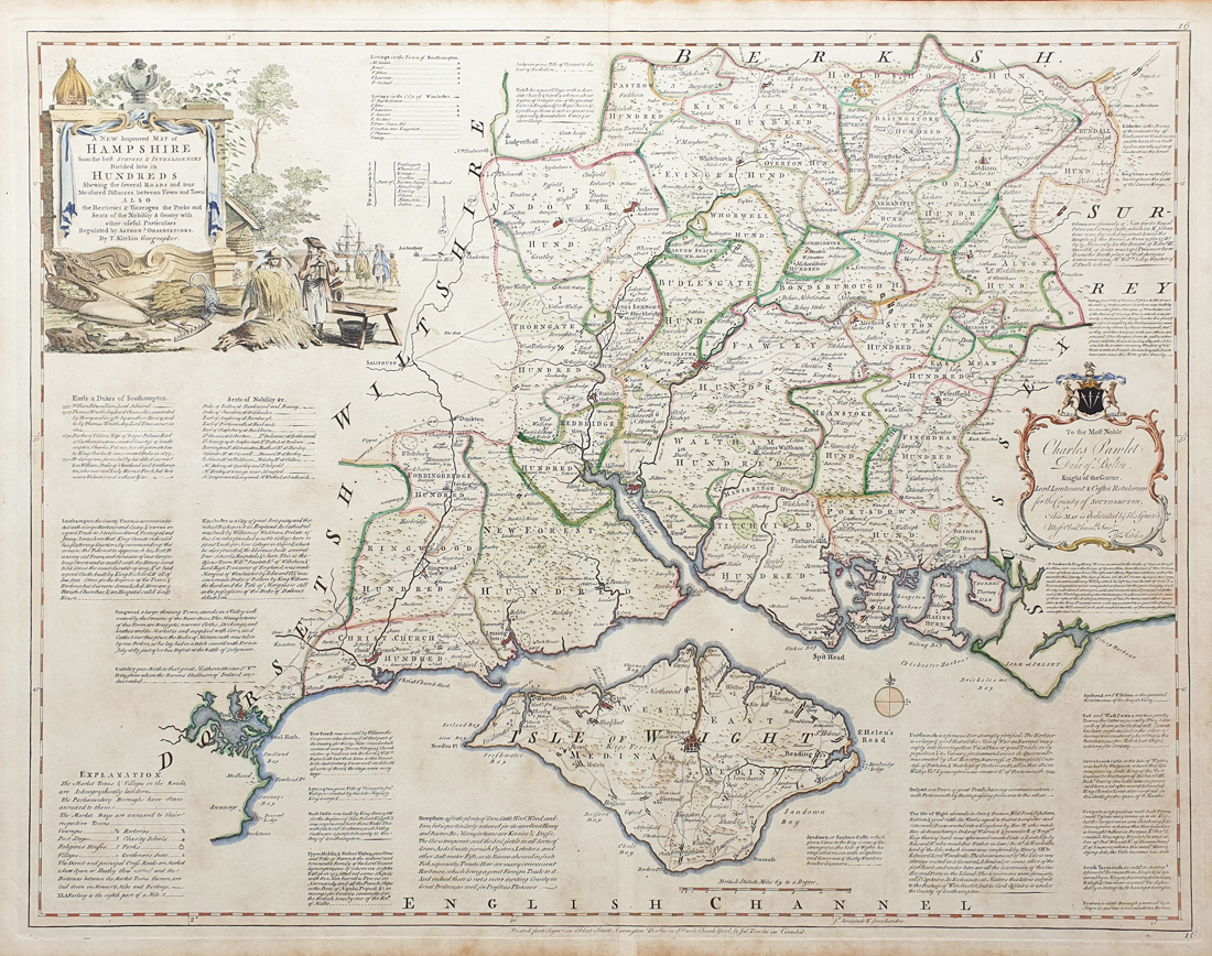 Antique Map of Hampshire by Thomas Kitchin - Large English Atlas