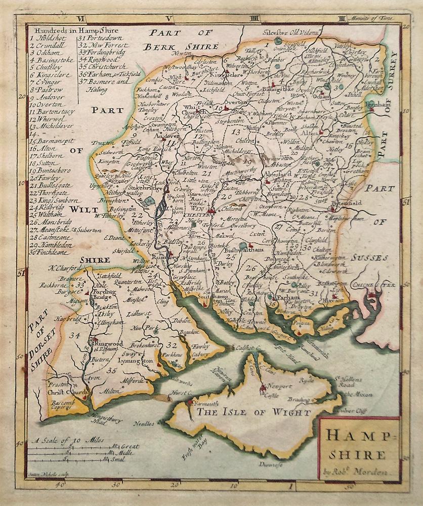 Map Of Uk Hampshire.Robert Morden Original 18th Century Map Of Hampshire