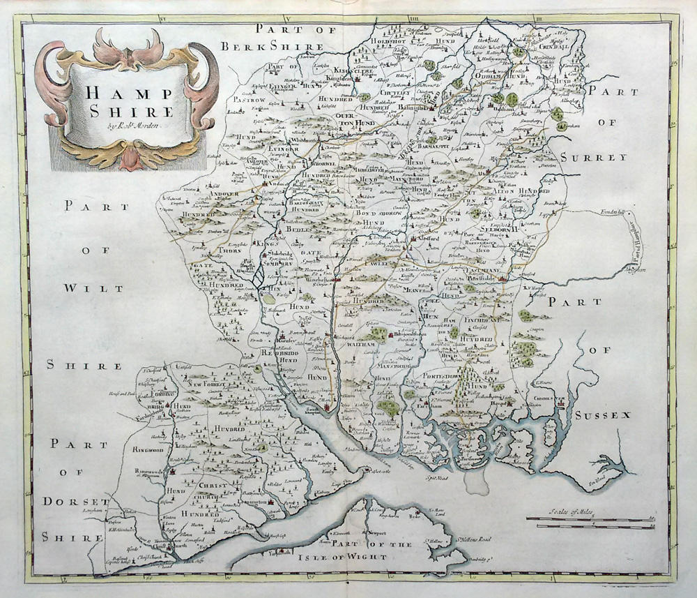 17th century map by Robert Morden of Hampshire