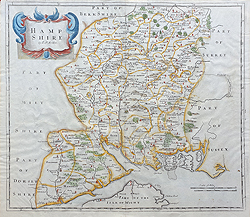 Antique map of Hampshire by Robert Morden for sale