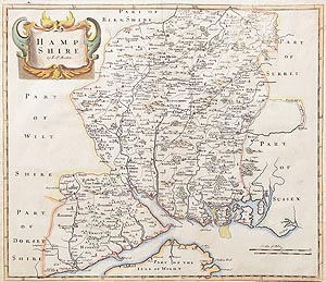 antique map of Hampshire by Morden  1722