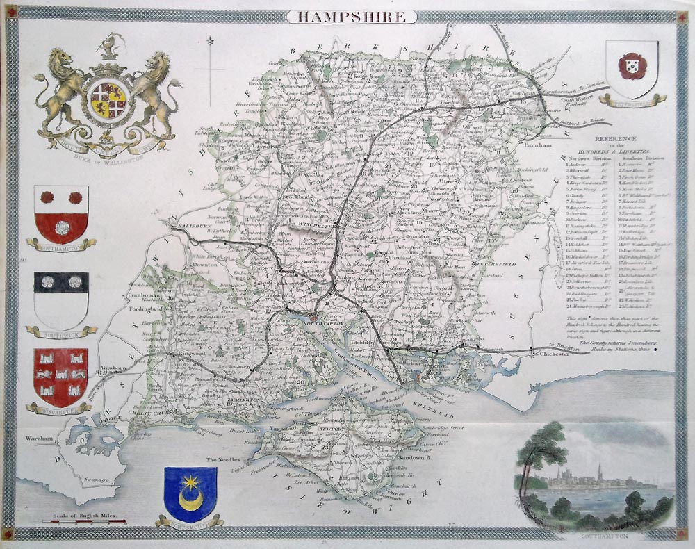 Antique map of Hampshire by Thomas Moule