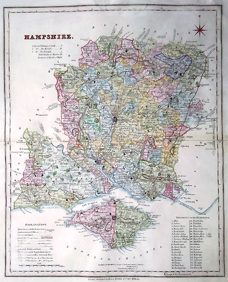 Antique Map of Hampshire by Robert Rowe for Henry Teesdale