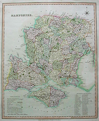 Antique map of Hampshire by Henry Teesdale