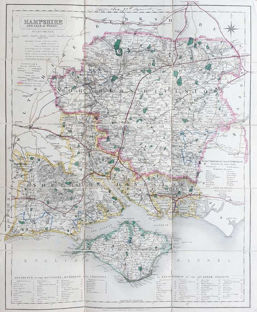 Walkers Hampshire map for sale