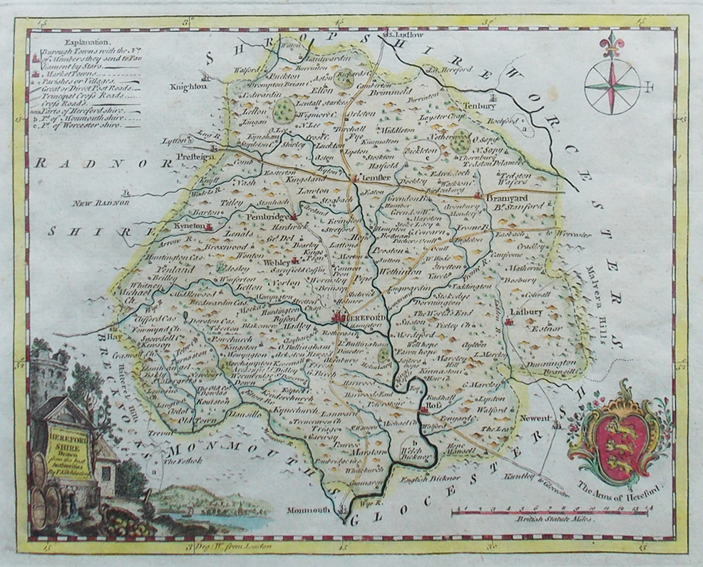 18th Century Map of Herefordshite by Thomas  Kitchin