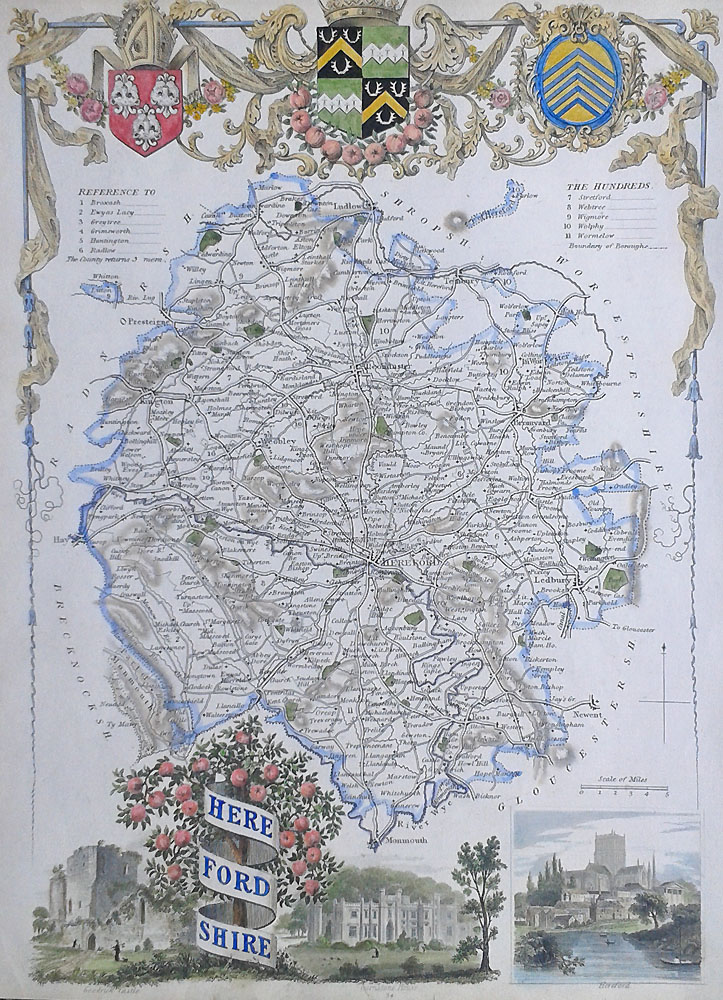 Antique map of Herefordshire by Thomas Moule