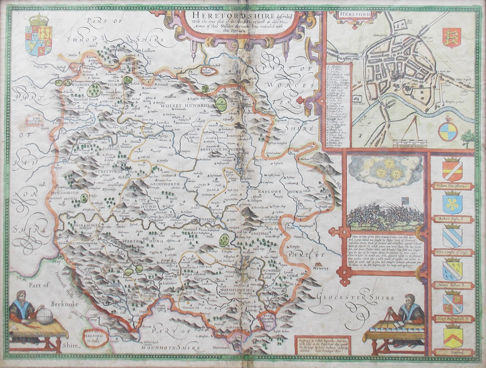 John Speed Maps John Speed   Herefordshire Original Antique Map dated 1611