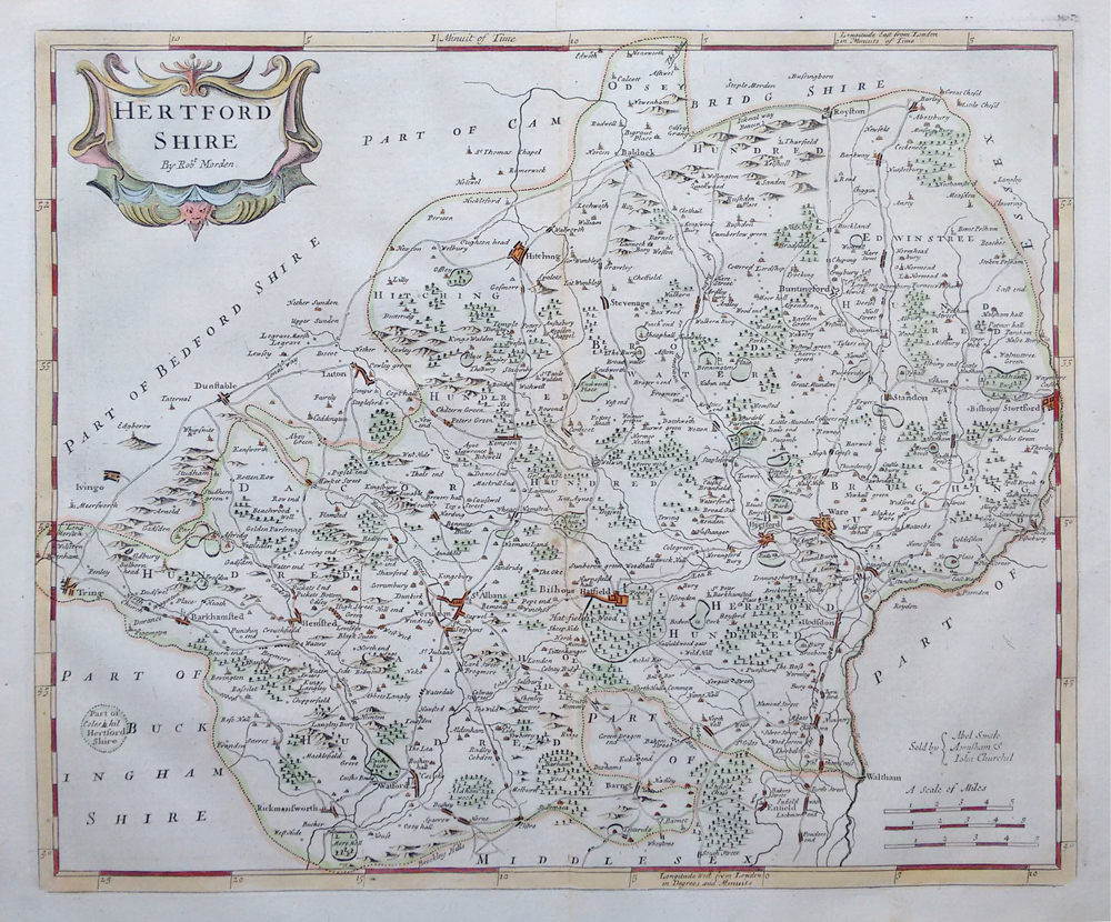 18th century map by Robert Morden of Hertfordshire