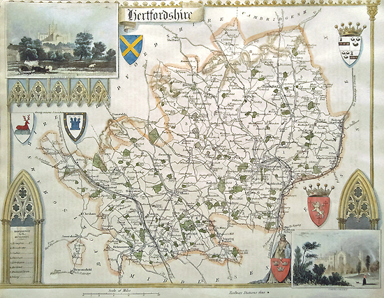 Hertfordshire Antique Map