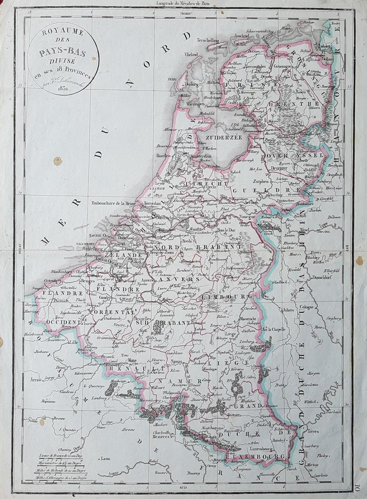 19th century map of Belgium - hand coloured
