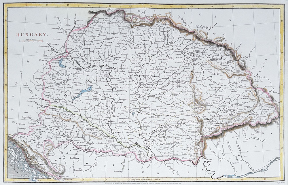 Antique map of Hungary for sale