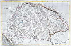 Hungary antique map for sale
