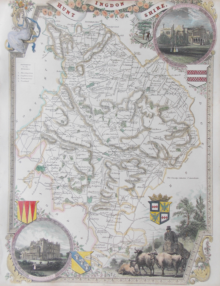 huntingdonshire map by moule for sale