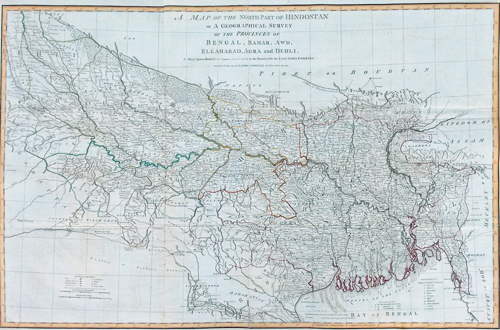 Antique map of north east india bengal and bahar james rennell 1794 18th century map of india bengal bahar gumiabroncs Images