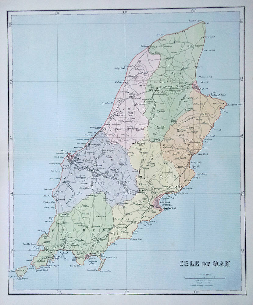 Antique Maps of the Isle of Man from the 19th century
