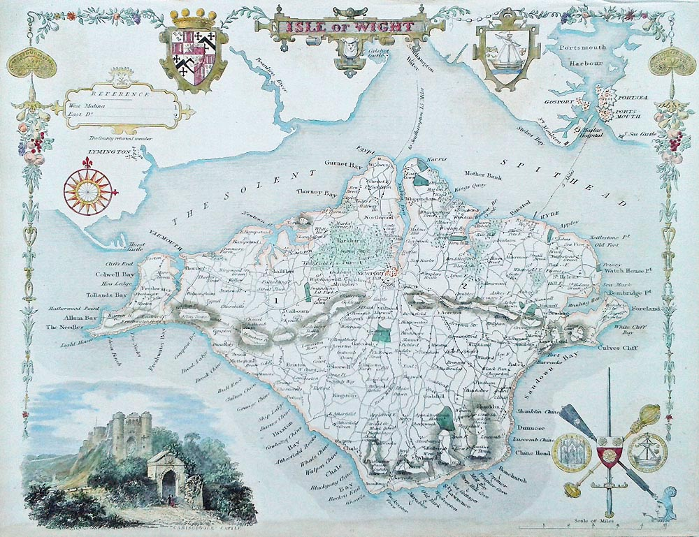 Antique map of the IOW by Thomas Moule
