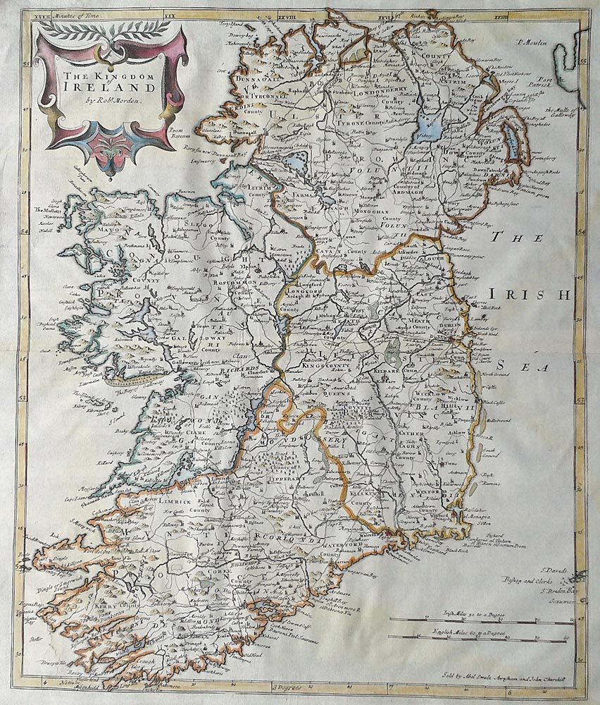 Ireland map by Robert Morden for Sale
