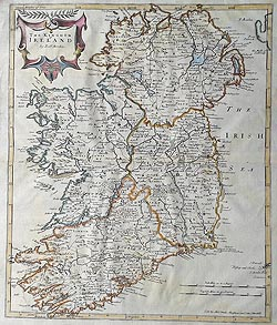 17th century map of Ireland by Robert Morden