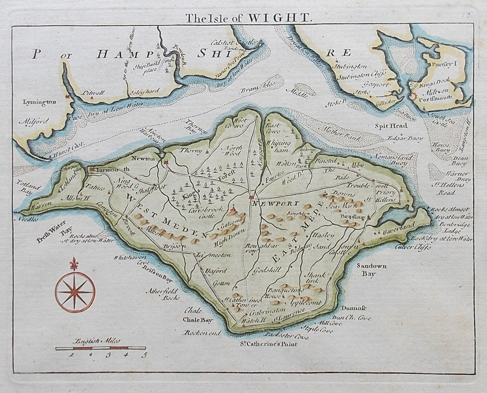 18th century antique map of the Isle of Wight for sale