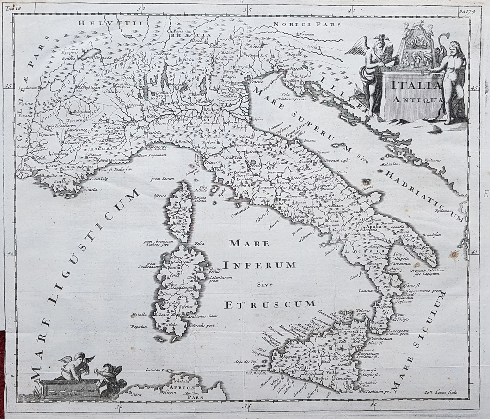 Italia Antiqua by John Senex after Philip Clüver early 18th century