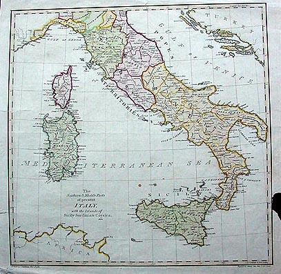 18th Century Map Southern Italy Sicily Sardinia Corsica
